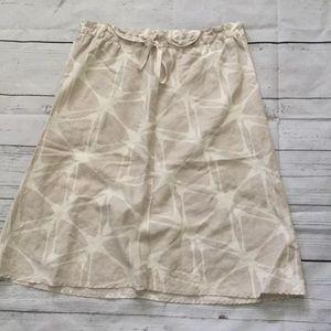 H&M linen khaki skirt retro print size 6